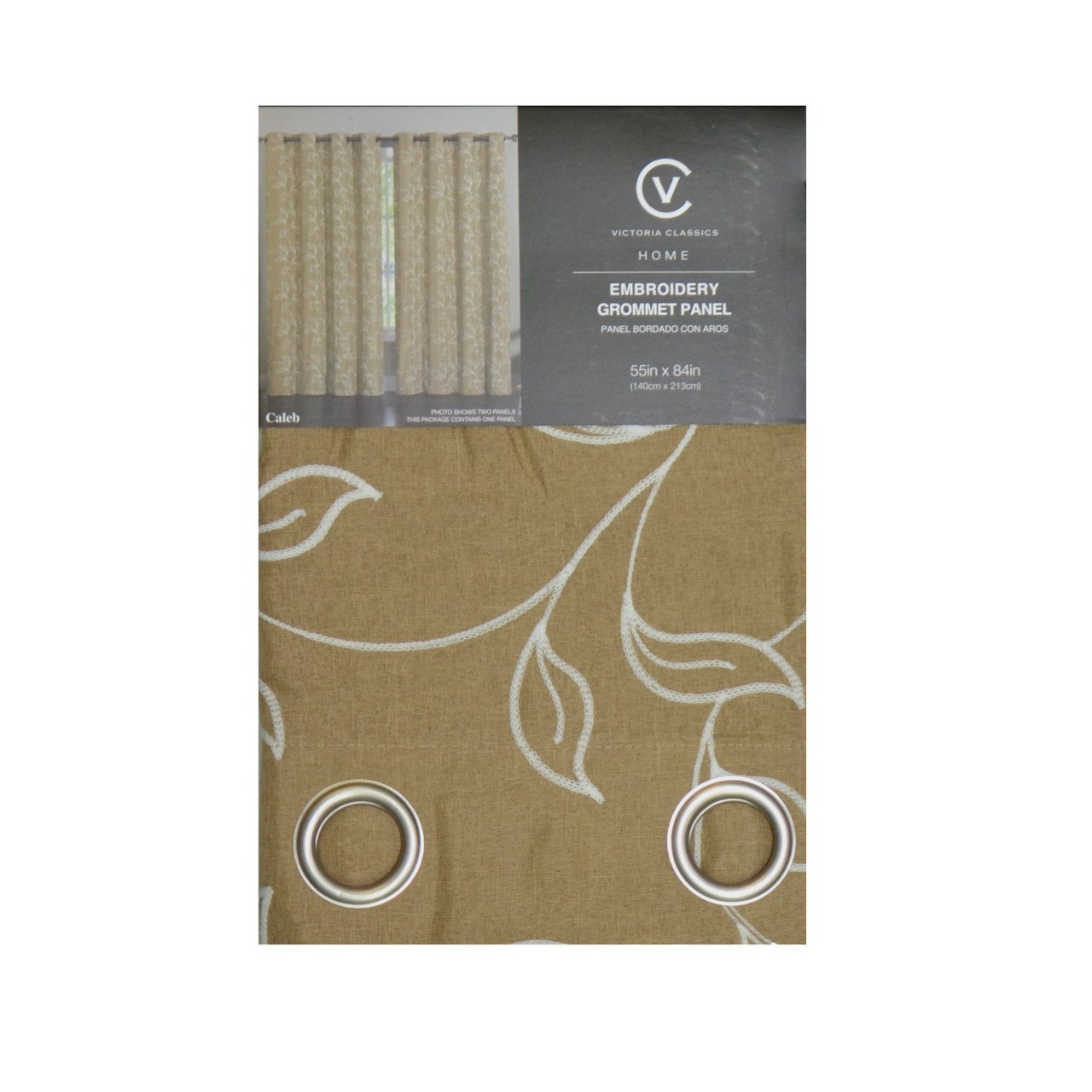 Amazon: Two Piece Grommet Window Curtain Panel Set: White Embroidered  Vine And Leaf Design, Total Size 110