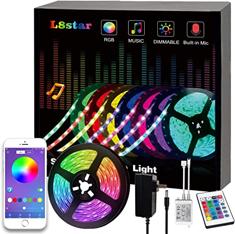 Mood Lighting Led Strips for Home Kitchen Christmas Indoor Decoration LED Strip Lights 16.4ft RGB 5050 LEDs Color Changing Kit with 24key Remote Control and Power Supply