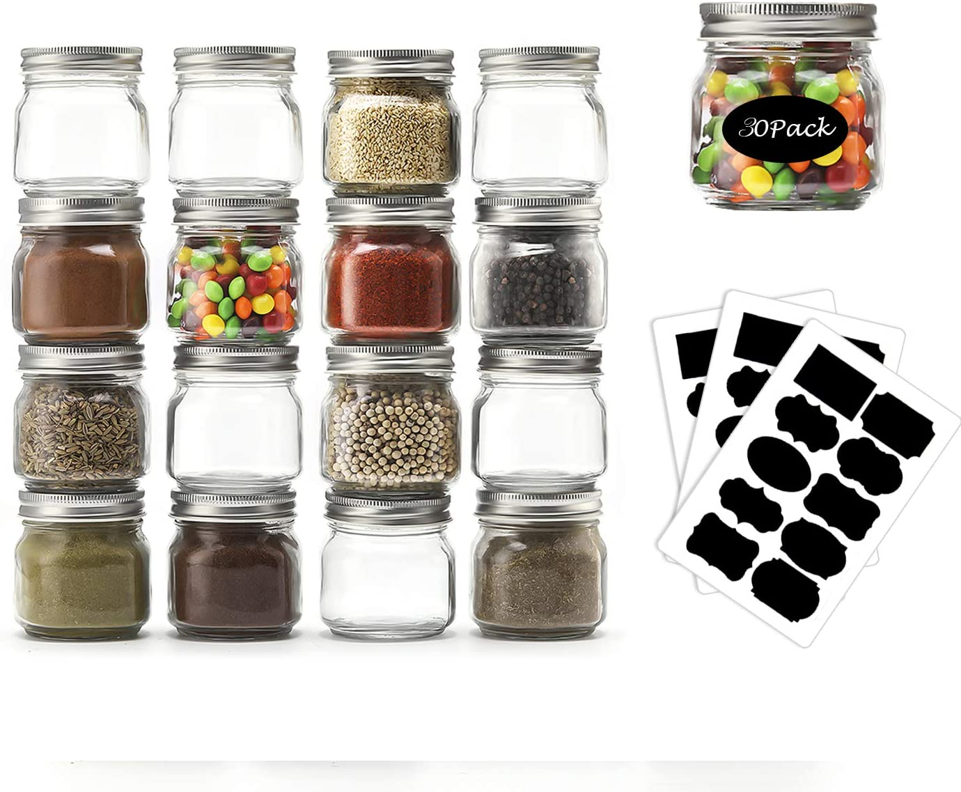 Mason Jars 8 OZ- Small Mason Jars With Silver Lids -1/4 Quart Canning Jars  Storage Pickling Jars For Jelly, Jam, Honey, Pickles - Spice Glass Jars - Set of 30 With Free 30 Chalkboard Labels