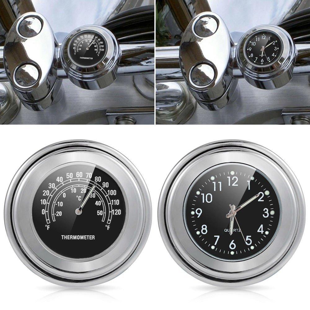22-25mm Motorcycle Handlebar Clock Thermometer Waterproof Dial Handlebar Mount Universal for Motorbike Leoie