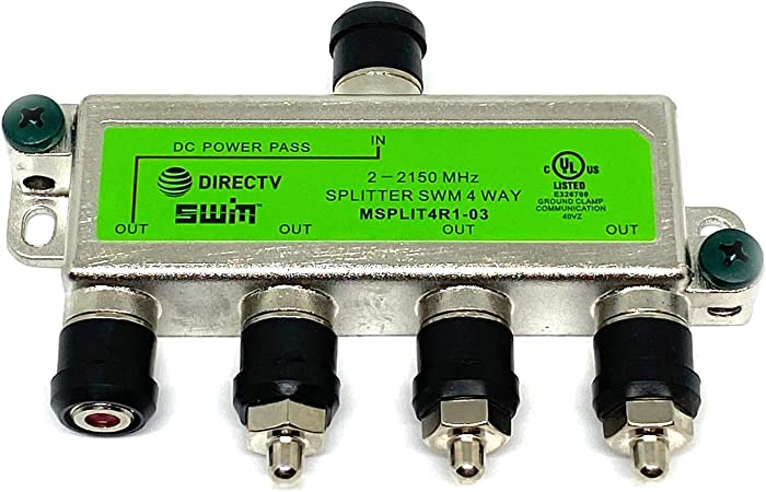 DirecTv MSPLIT4R1-03 Approved WNC 4-Way Wide Band SWM Splitter: Electronics  - Amazon.com | Multiswitch Wiring Diagram 4 Way |  | Amazon.com