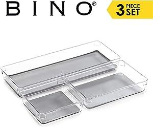 BINO 3-Tray Drawer Organizer Bin Pack - Clear, Large   Multi-Purpose Storage   Soft-Grip Lining and Non-Slip Rubber Feet   Durable   BPA-Free