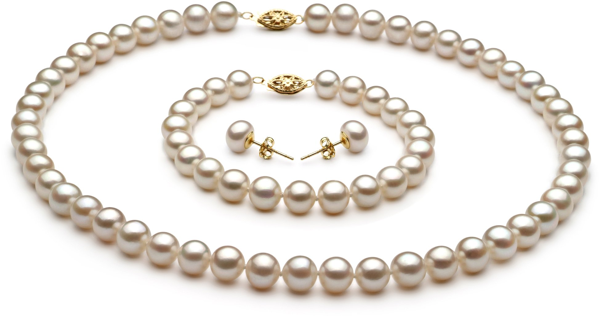 PearlsOnly - White 7.5-8.5mm AA Quality Freshwater Cultured Pearl Set-23 in Matinee length