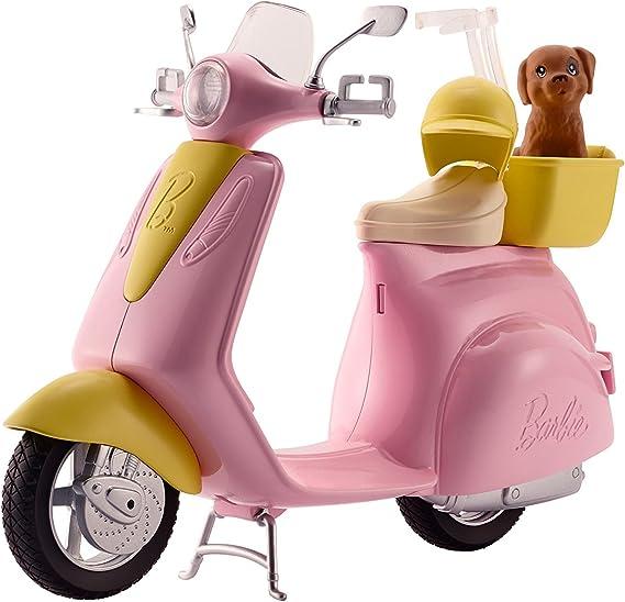 Barbie Moto Scooter rosa de mu/ñeca y perrito Mattel DVX56