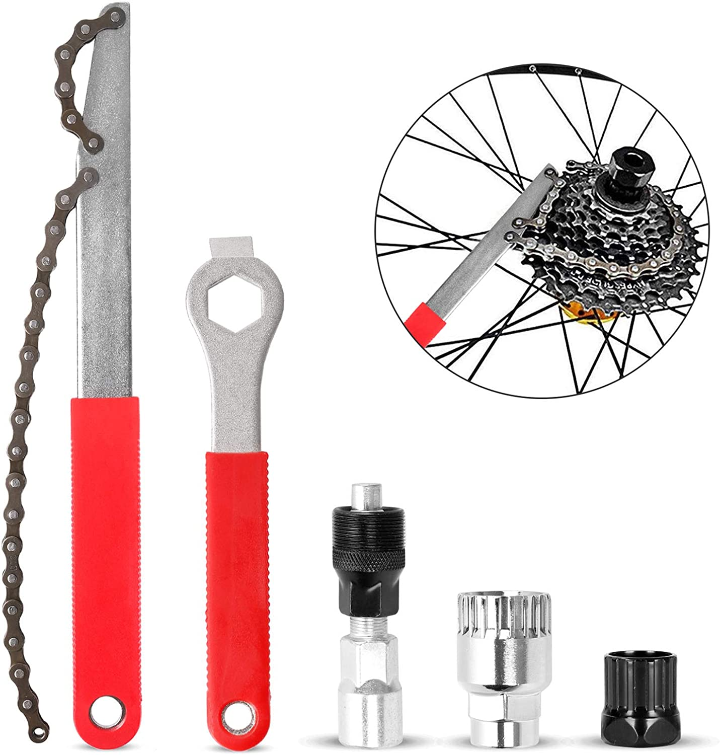 Odoland Bike Repair Tool Kit, Including Bike Crank Extractor with 16mm Spanner/Wrench, Bicycle Flywheel Chain Sprocket Remover Tool, Cassette Lock Ring Removal Tool : Sports & Outdoors