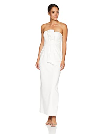 931bed30353 Adrianna Papell Women's Petite Strapless Bow Detail Front Knit Crepe Column  Gown at Amazon Women's Clothing store: