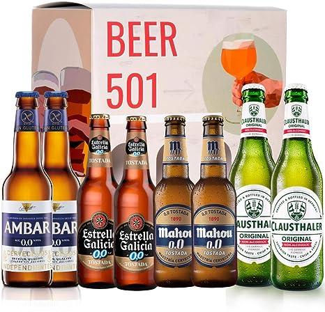 Pack de cerveza degustación BEER 501 - Caja Sin Alcohol: Ambar, Estrella Galicia, Mahou y Clausthaler. I La mejor selección de cervezas para regalar y disfrutar el momento.: Amazon.es: Alimentación y bebidas