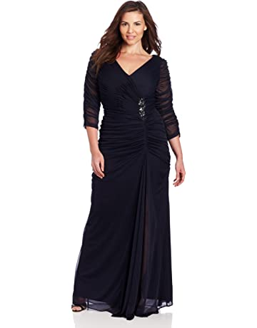 c7efb21c27ca Adrianna Papell Women's Plus-Size Three-Quarter Sleeve Ruched Gown