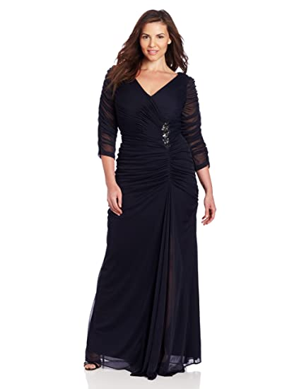 Adrianna Papell Women\'s Plus-Size Three-Quarter Sleeve Ruched Gown