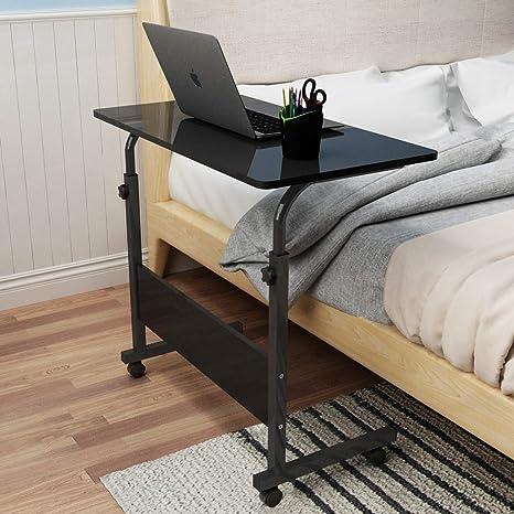 soges Laptoptisch Beistelltisch mit Rollen,höhenverstellbarer PC Tisch  Notebook Sofatisch Laptopständer Notebookständer Pflegetisch für Bett und  Sofa, ...