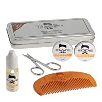 Mo Bro's Grooming Kit- Gift Tin, Moustache Wax, Beard Balm, Oil, Comb, Scissors (Vanilla & Mango)