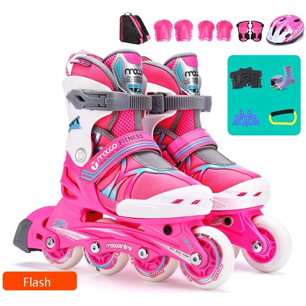 GJF 楽しい点滅子供インラインスケート、調節可能な男の子初心者単一行スケート、女の子の誕生日プレゼント耐久性のあるローラースケート(ブルーピンク) (Color : ピンク, Size : S (EU 27-30)) ピンク S (EU 27-30)
