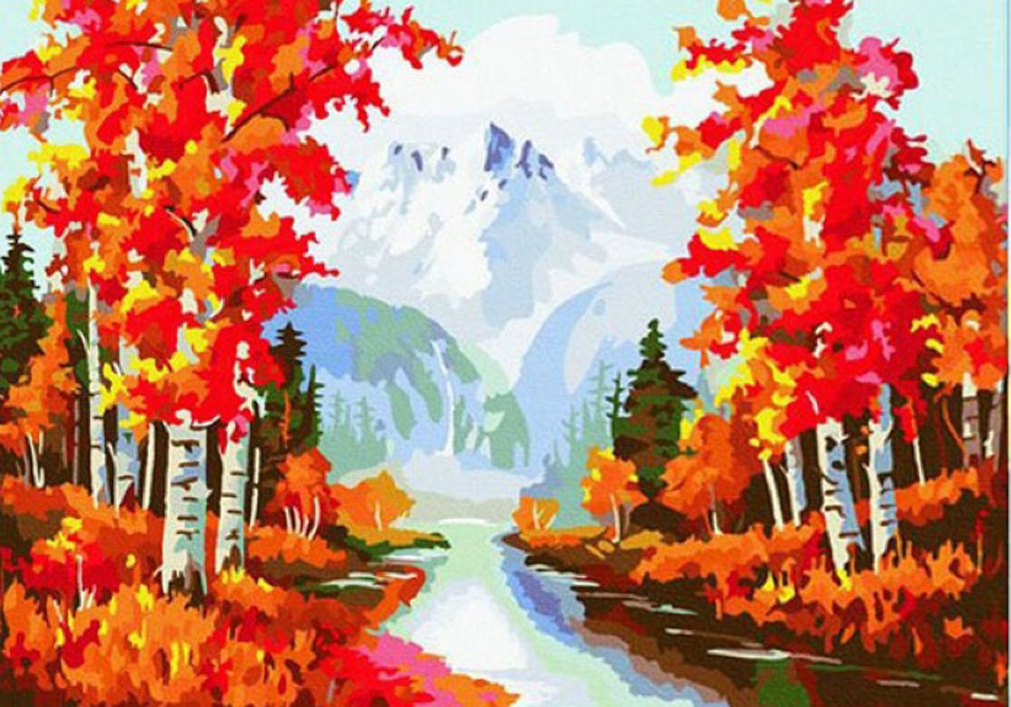 Greek Art Paintworksペイントカラーby Numberキット B00ZAE40RK Autumn Trees Autumn Trees
