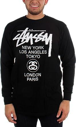 Stussy para hombre World Tour camiseta de manga larga Negro negro Medium: Amazon.es: Ropa y accesorios