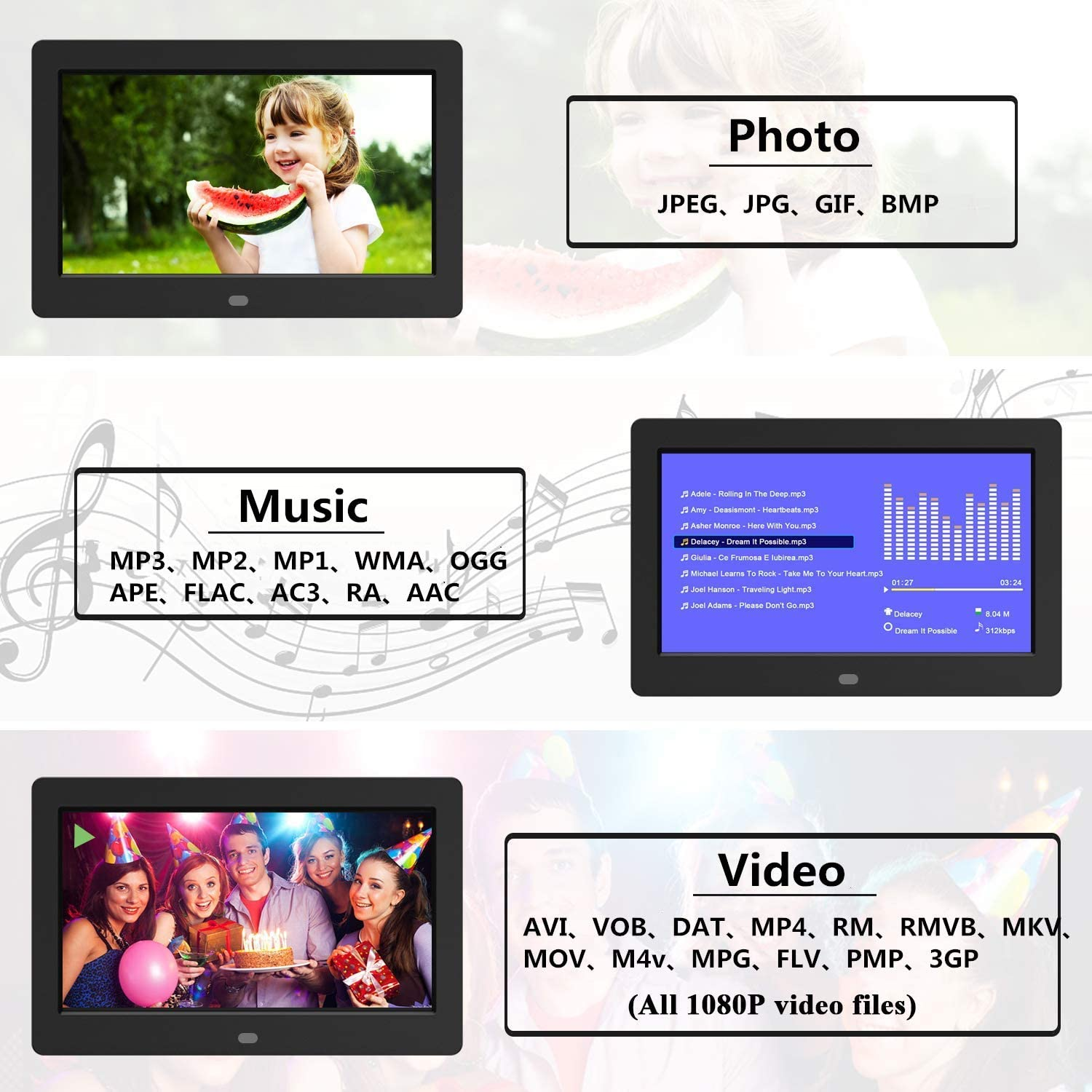 Digital Photo Frame 32GB SD Card 7 Inch 1024x600 High Resolution IPS Display Digital Picture Frames Auto-Rotate Image Preview Background Music Video Calendar with Remote Control
