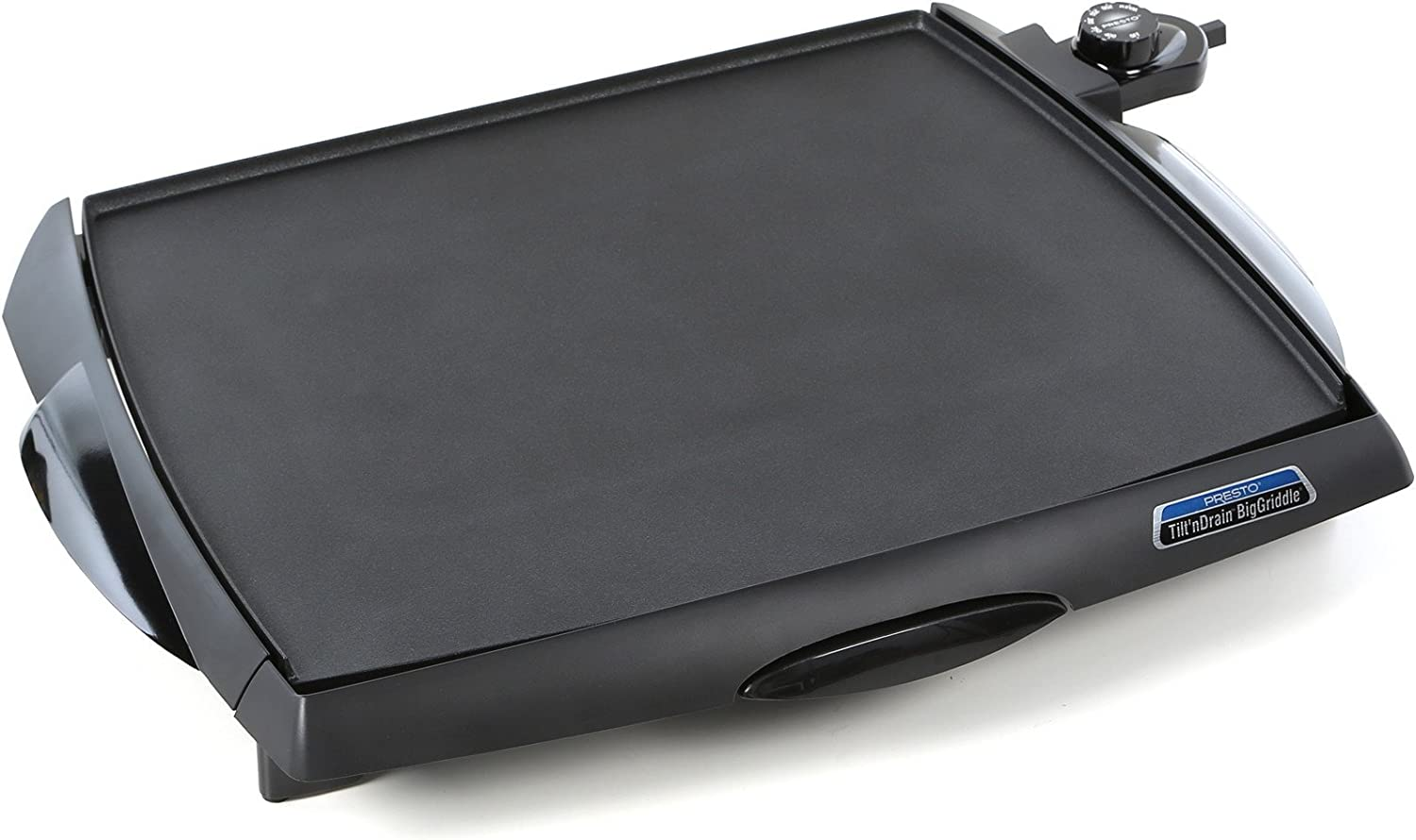 Countertop Electric Griddle in Black Finish with Slide-out Drip Tray – Made From Heavy Cast Aluminum Base and Premium Non-stick Surface with Cool-touch Handles by Presto