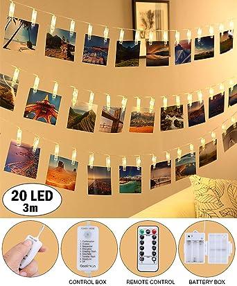 LED Lichterkette Fotoclips Lichterketten   QooLivin 20 Foto Clips 3M Länge  Warmweiß Dekoration Foto Lichterkette Mit