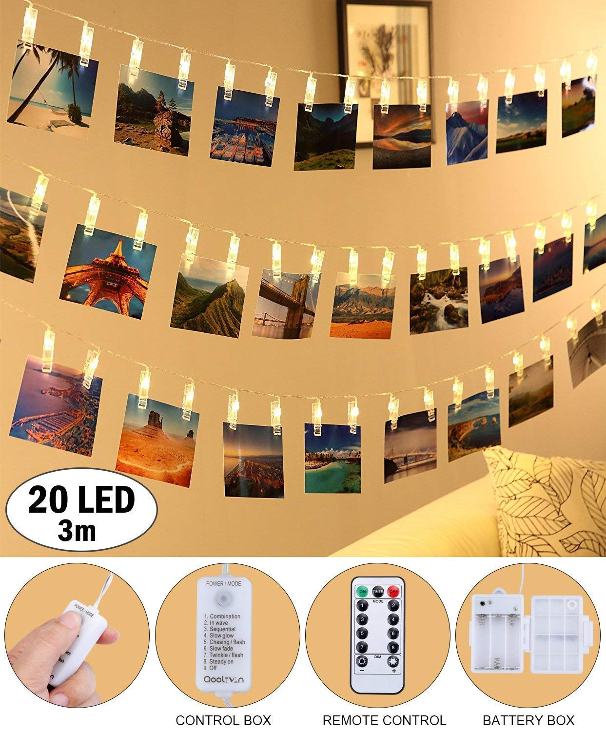 LED Photo Clip String Lights - Qoolivin 3M 20 Clips USB Plug Warm White LEDs Battery Operated Fairy String Lights Bedroom Home Decoration for Hanging Photos, Cards and Artwork by Qoolivin