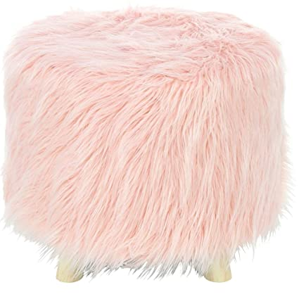 Strange Amazon Com Faux Fur Stool Wooden Accent Foot Stool Ottoman Cjindustries Chair Design For Home Cjindustriesco