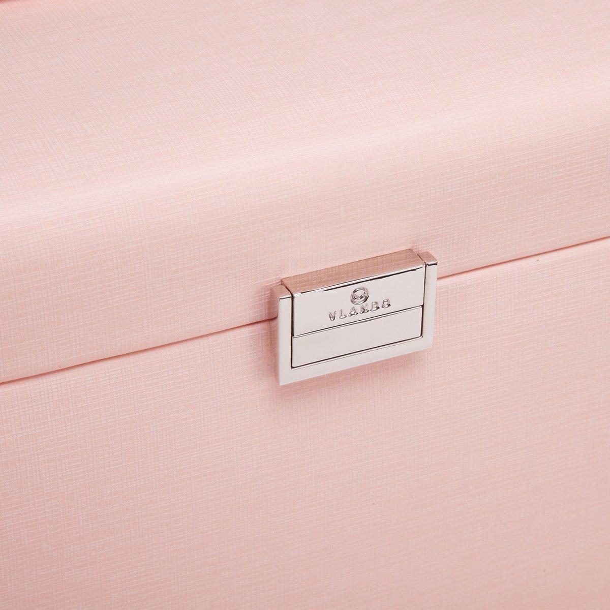 Vlando Jewelry Box, Faux Leather Medium Jewelry Organizer, Vintage gift for Women -Pink-Cross Pattern by Vlando (Image #10)