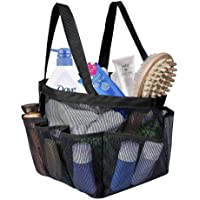 Portable Mesh Shower Caddy, Quick Dry Shower Tote Hanging Bath & Toiletry Organizer Bag with 9 Storage Pockets, Double Handles for College Dorm, Travel, Gym & Camping, Black