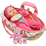 Baby Doll Feeding Set 12 Inch Soft Body With Carrier Bassinet Bed And