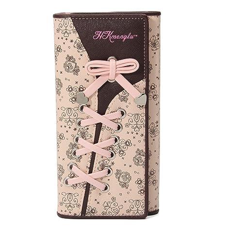 cartera para mujer,Charminer cartera elegante cartera de piel de billete tarjeta y monedero para