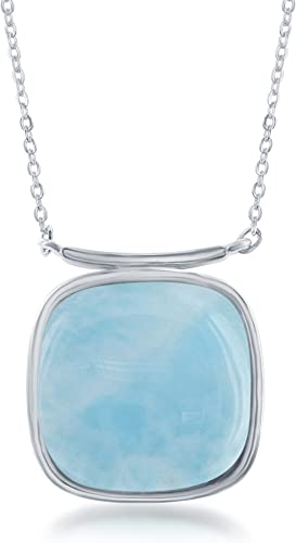 Beaux Bijoux Sterling Silver Square Natural Larimar Stone High Polish 16+2 Necklace