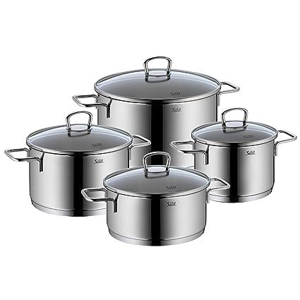 Silit Pfannenset Alicante 4-Teilig Batería de Cocina, Acero Inoxidable, 20 cm,