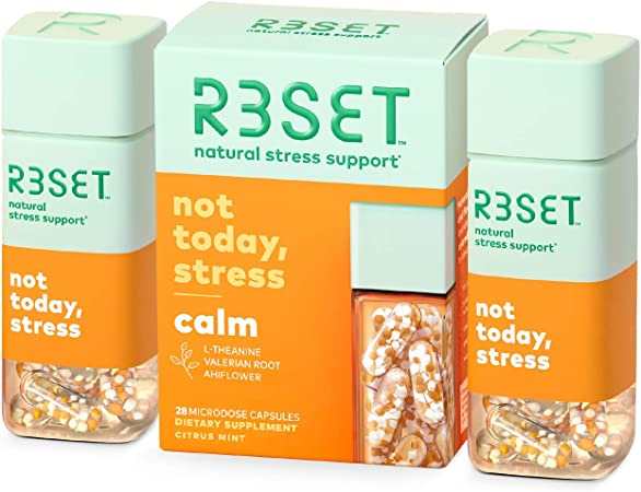 R3SET Calm, Stress & Occasional Feelings of Anxiety Support Supplement with Vitamin D3, Omega 3, Valerian Root, Ashwagandha, L-Theanine & GABA, 28 Capsules