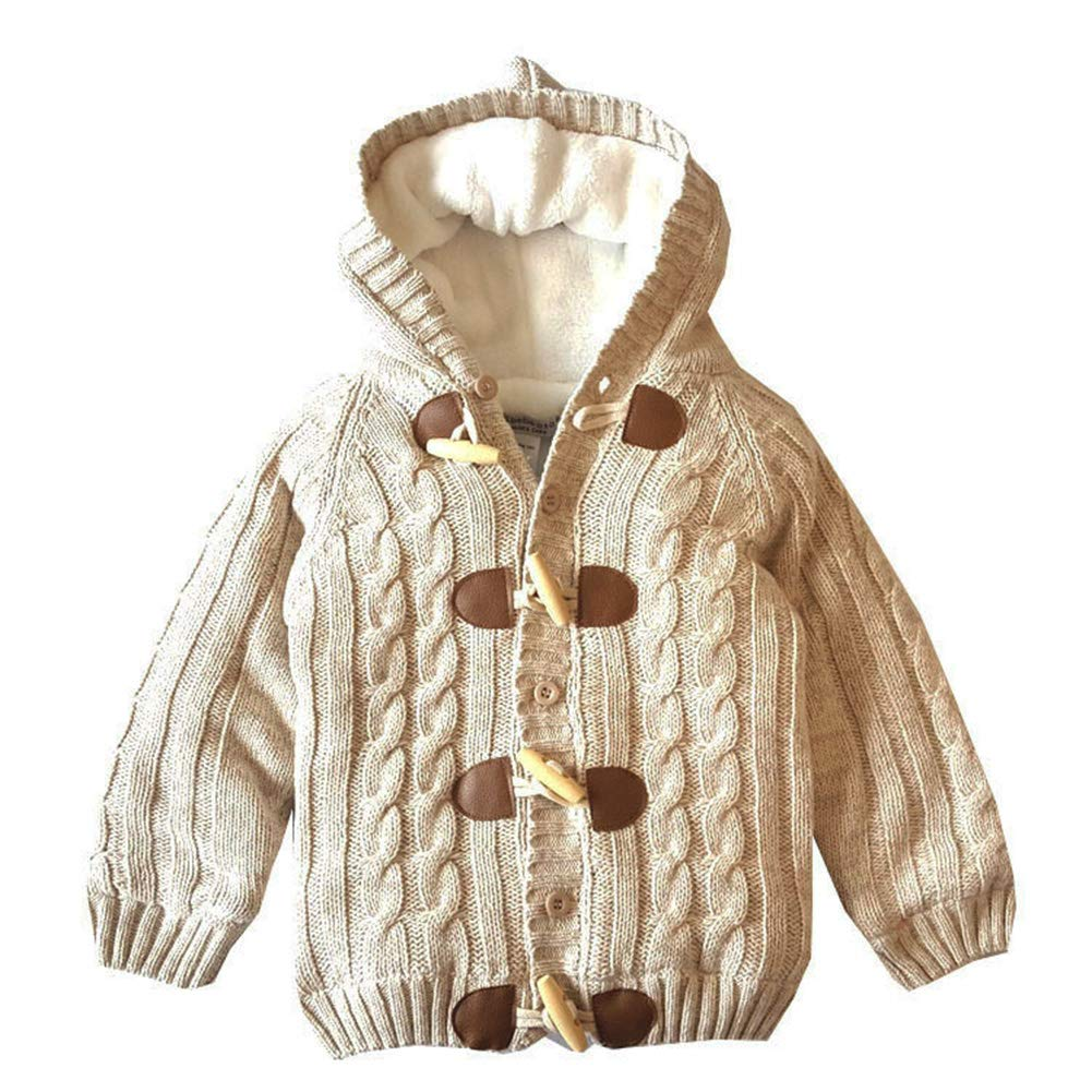 JGJSTAR Baby Sweater Cardigan 100% Cotton Toddler Boys Girls Long Sleeve Cable Knit Jacket Warm Coat