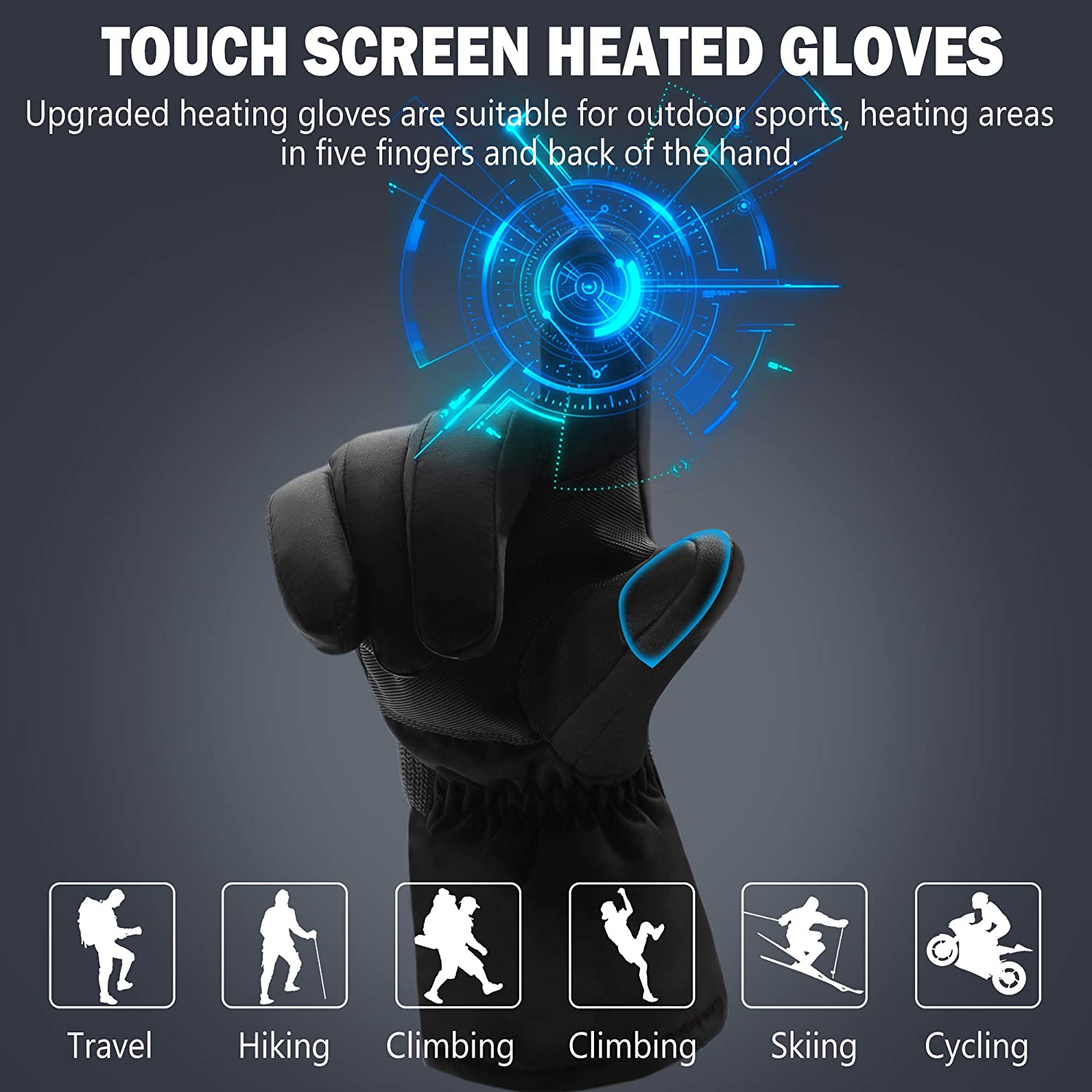 Electric Heated Gloves Rechargeable Battery Heated Gloves for Cold Weather Mens Novelty Gloves