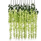luyue Ratta Glicine vite artificiale per fiori di seta Matrimonio Partito Home Decor 1,4m, confezione da 6 Green