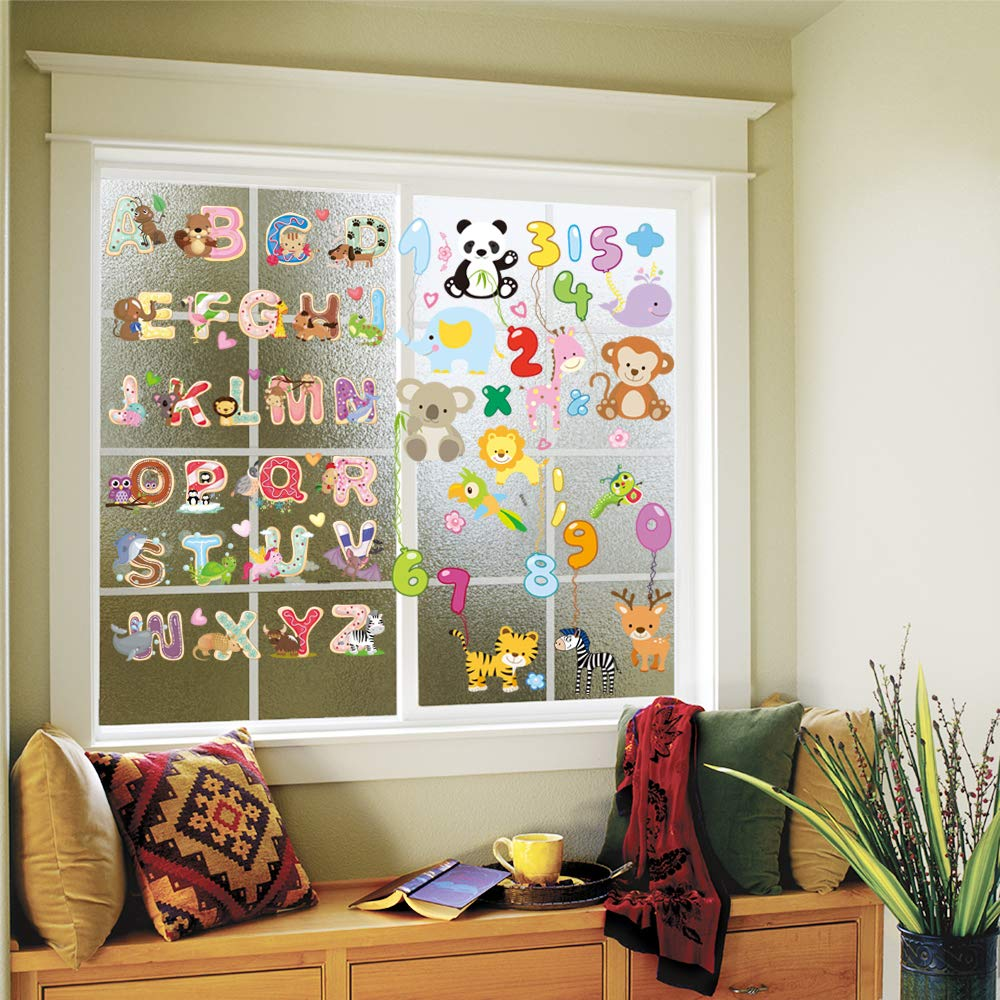 chillake Colourful Animal Alphabet ABC Numbers Kids Wall Decals - Window Glass Stickers Peel for Kids Nursery Bedroom Living Room - Removable and Reusable No Tape, No Glue, No Mess
