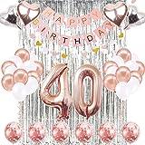 KUNGYO Decoraciones de Feliz Cumpleaños 40 Oro Rosa Happy ...