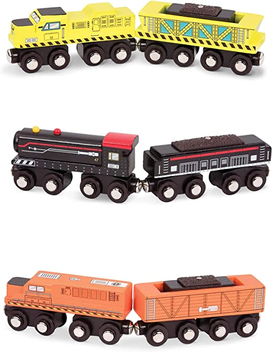 Battat – Wooden Locomotive & Freight Cars – Classic Wooden Toy Train Set with Locomotive & Cars for Kids & Collectors Aged 3 Years Old & Up (6Pc), Compatible with Thomas Train