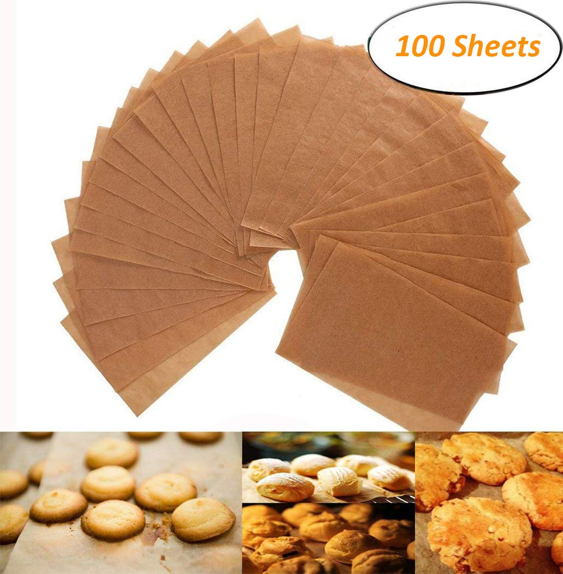 Parchment Paper Cookie Baking Sheets - 12 x 16 Inches - Non-Stick Brown Unbleached - Safe for High Temperature Baking - Pack of 100 Alago AL-047