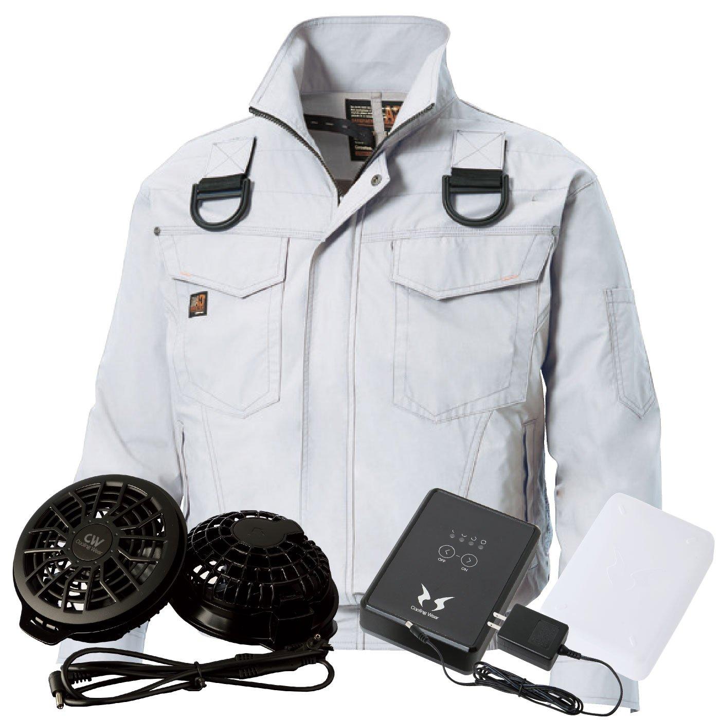 空調服 フルハーネス安全帯着用 【空調服+ファン+日本製リチウムイオンバッテリーセット】ss-ku91400f-l B01FRQY610 5L|シルバー シルバー 5L