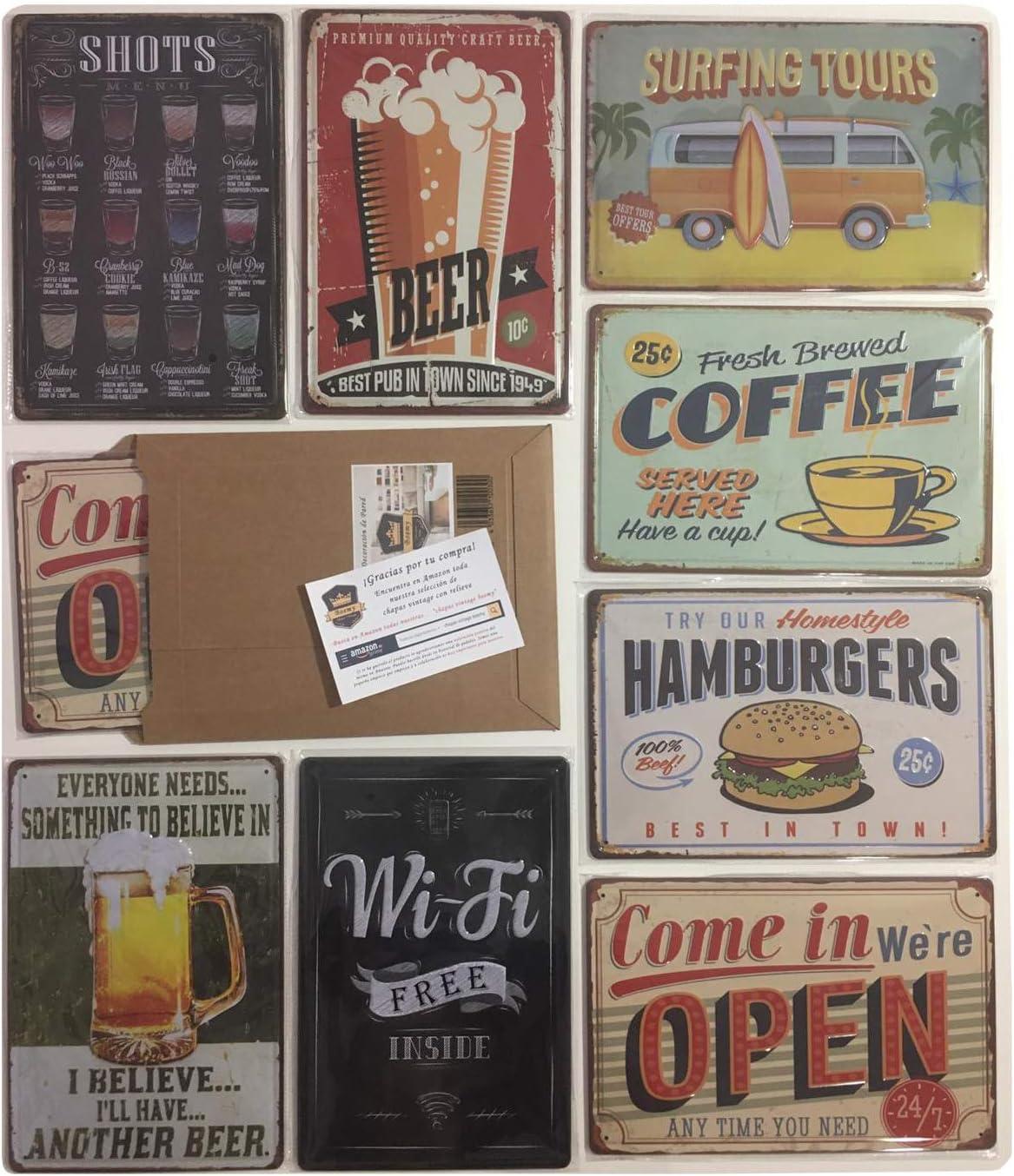 Placas Metálicas Vintage [ Bar, Cafetería, Restaurante, Cocina ] Pack de 8 Chapas Decorativas Retro con Relieve | Envío desde España | Medidas 20x30 cm