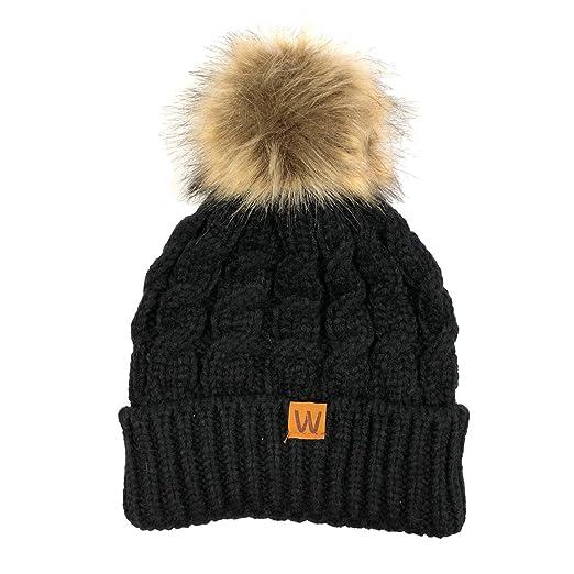 Allydrew Winter Warm Soft Knit Beanie with Faux Fur Pom Pom 4bcccb573e8