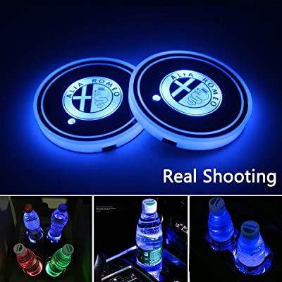 2pcs LED Car Cup Holder Lights for Alfa Romeo, 7 Colors Changing USB Charging Mat Luminescent Cup Pad, LED Interior Atmosphere Lamp (Alfa Romeo): Automotive