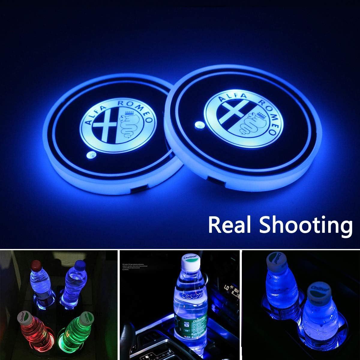 2pcs LED Car Cup Holder Lights for Alfa Romeo, 7 Colors Changing USB Charging Mat Luminescent Cup Pad, LED Interior Atmosphere Lamp (Alfa Romeo)