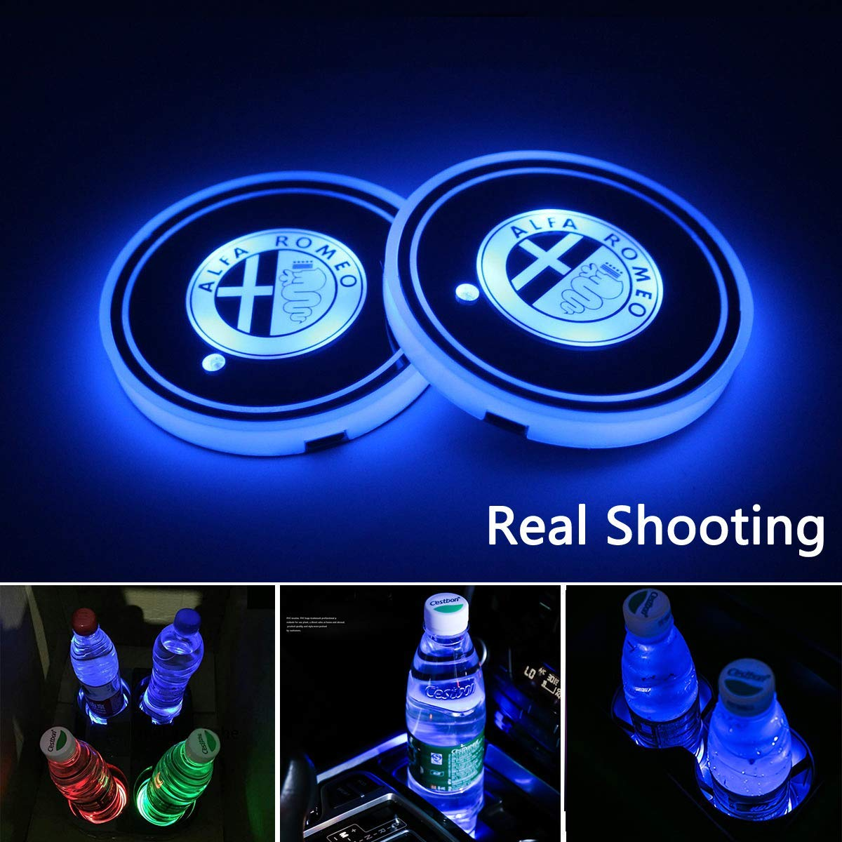 2pcs LED Car Cup Holder Lights for Alfa Romeo, 7 Colors Changing USB Charging Mat Luminescent Cup Pad, LED Interior Atmosphere Lamp (Alfa Romeo)