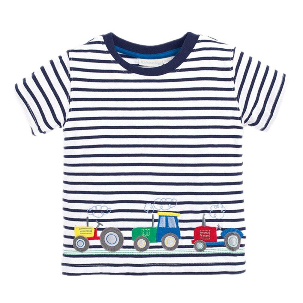 Motteecity Little Boys T-Shirt Car Striped Summer