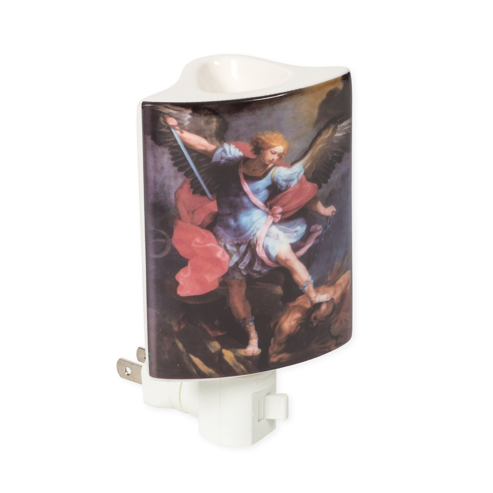 St. Michael Archangel 3 x 5.5 Porcelain Electric Wall Plug-In Oil Burner Night Light