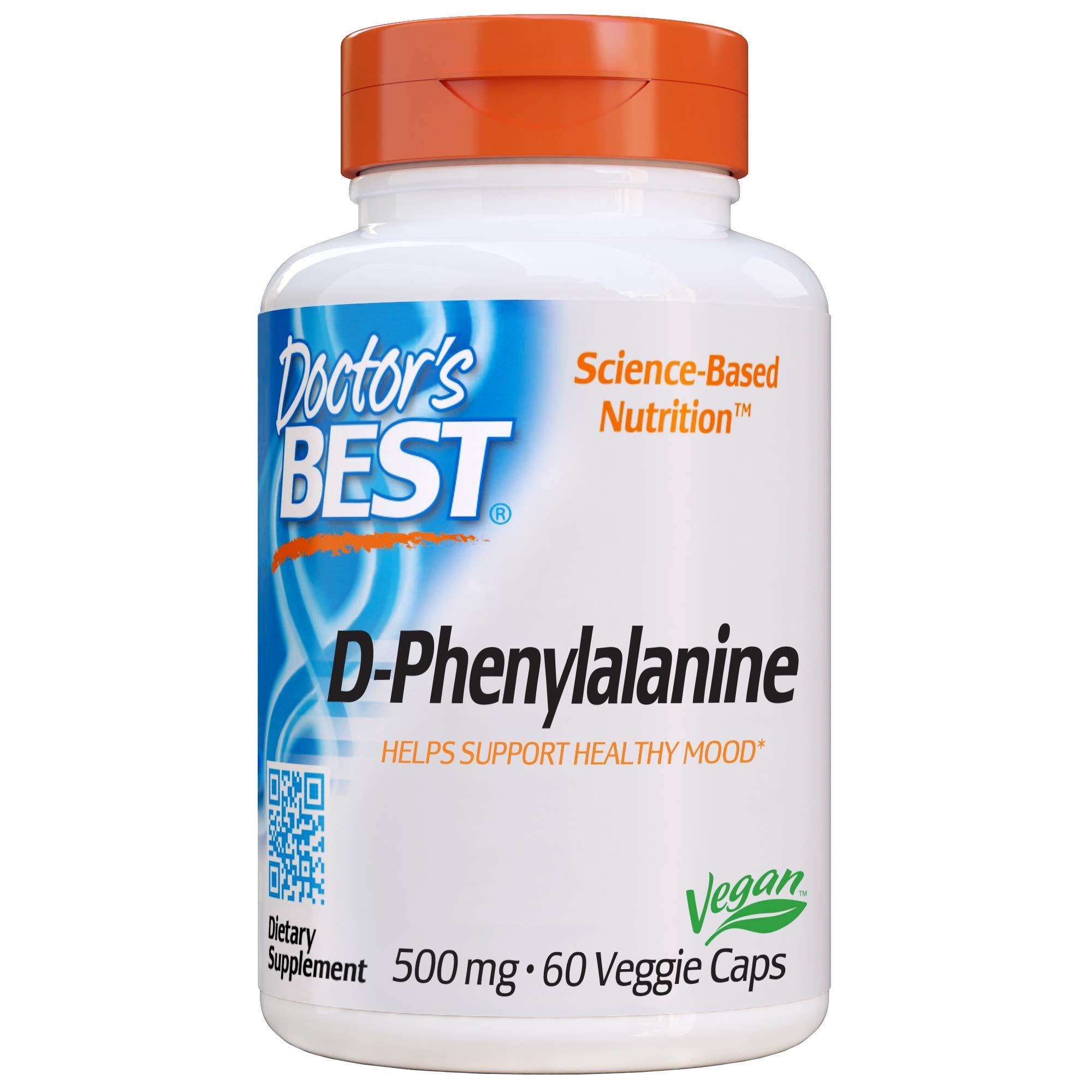 D-Phenylalanine, Non-GMO, Vegan, Gluten Free, 500 mg