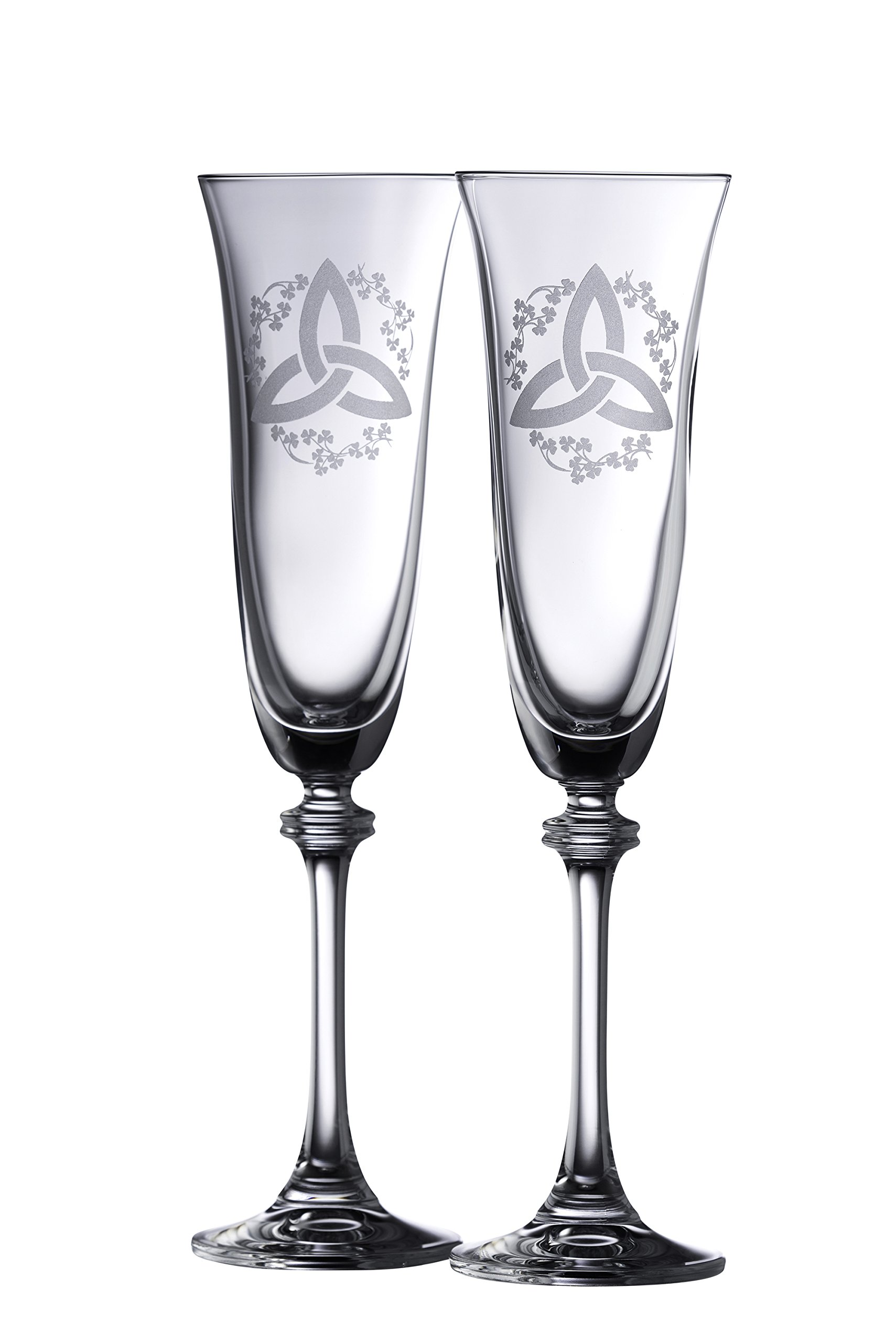 Galway Crystal Trinity Knot Shamrock Liberty Flute (1 Pair), Clear