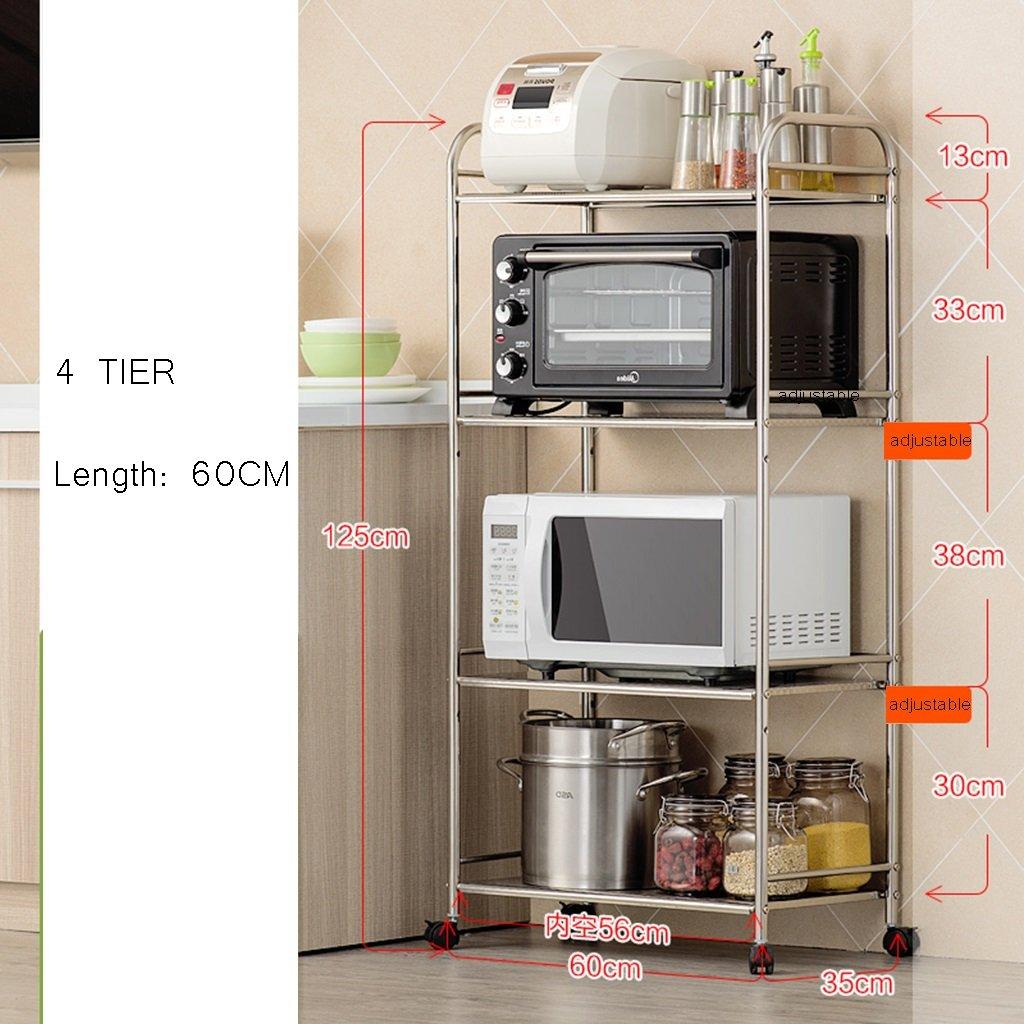 Scaffale Da Cucina E Scaffale Da Cucina Con Ampio Forno A Microonde Scaffale Da Cucina E Scaffale Regolabile Da 5 Piani Con Ripiano Estensibile Rack Da 60 Cm (dimensioni : 3 tier) qiangzi