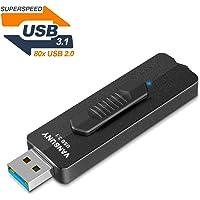USB Flash Drive 128GB, USB 3.1 Gen 2 Flash Drive 400MB/s, Vansuny Super Speed Solid State USB Drive Thumb Drive Slide Metal USB Memory Stick Zip Drive Jump Drive Pendrive (128G,Black)