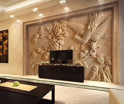 Lwcx Home Decoration 3d Wallpaper Flower Relief Photo Wallpaper